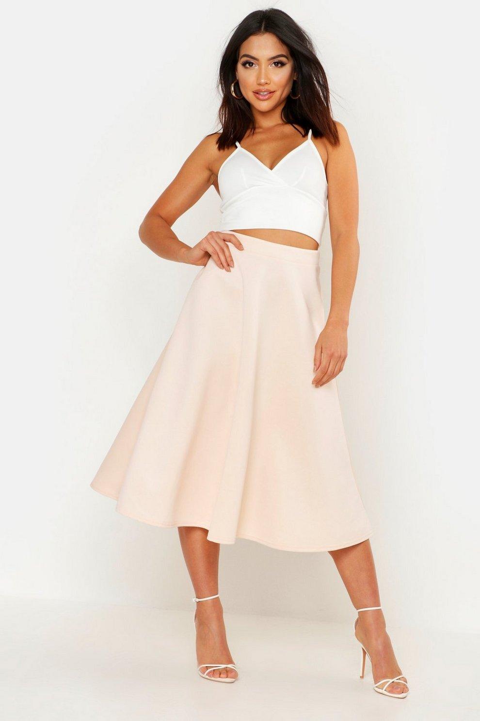 05fab92fc53 Basic Plain Full Circle Midi Skirt