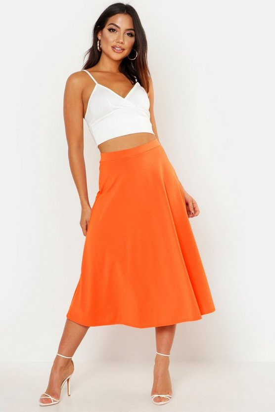 Womens Orange Basic Plain Full Circle Midi Skirt