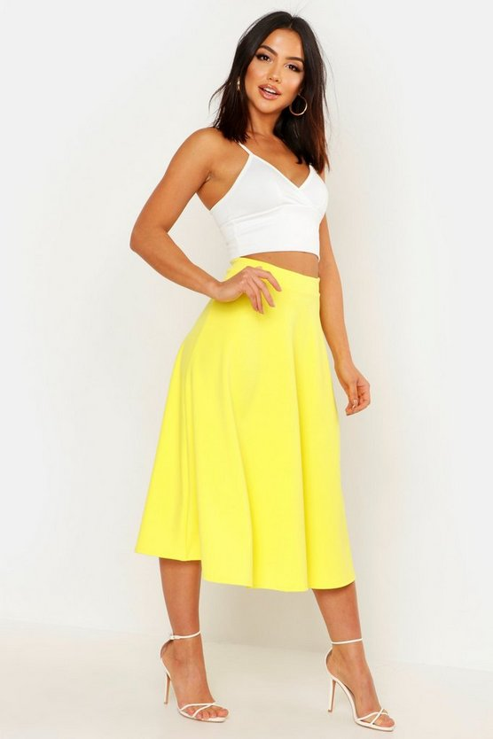 Womens Yellow Basic Plain Full Circle Midi Skirt