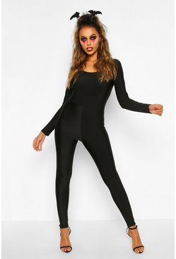 Womens Black Halloween Long Sleeve Disco Catsuit
