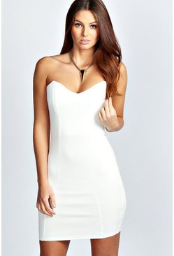 Womens Ivory Shelly Bandeau Bodycon Dress