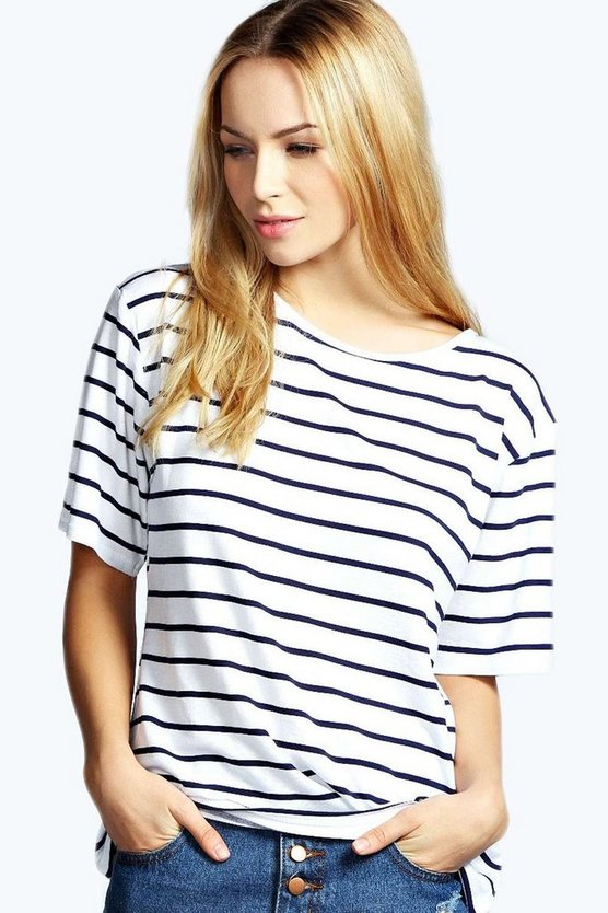 Womens Navy Basic Stripe Oversized Tee