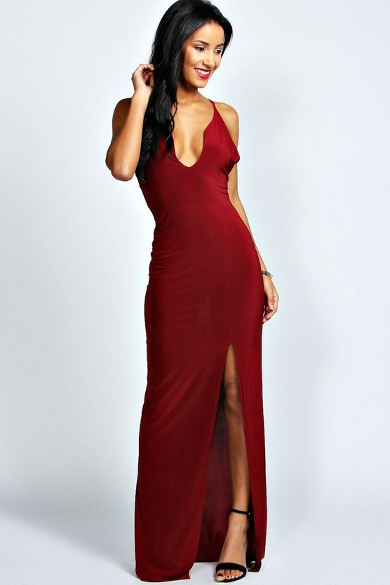 Plunge Neck Front Split Maxi Dress
