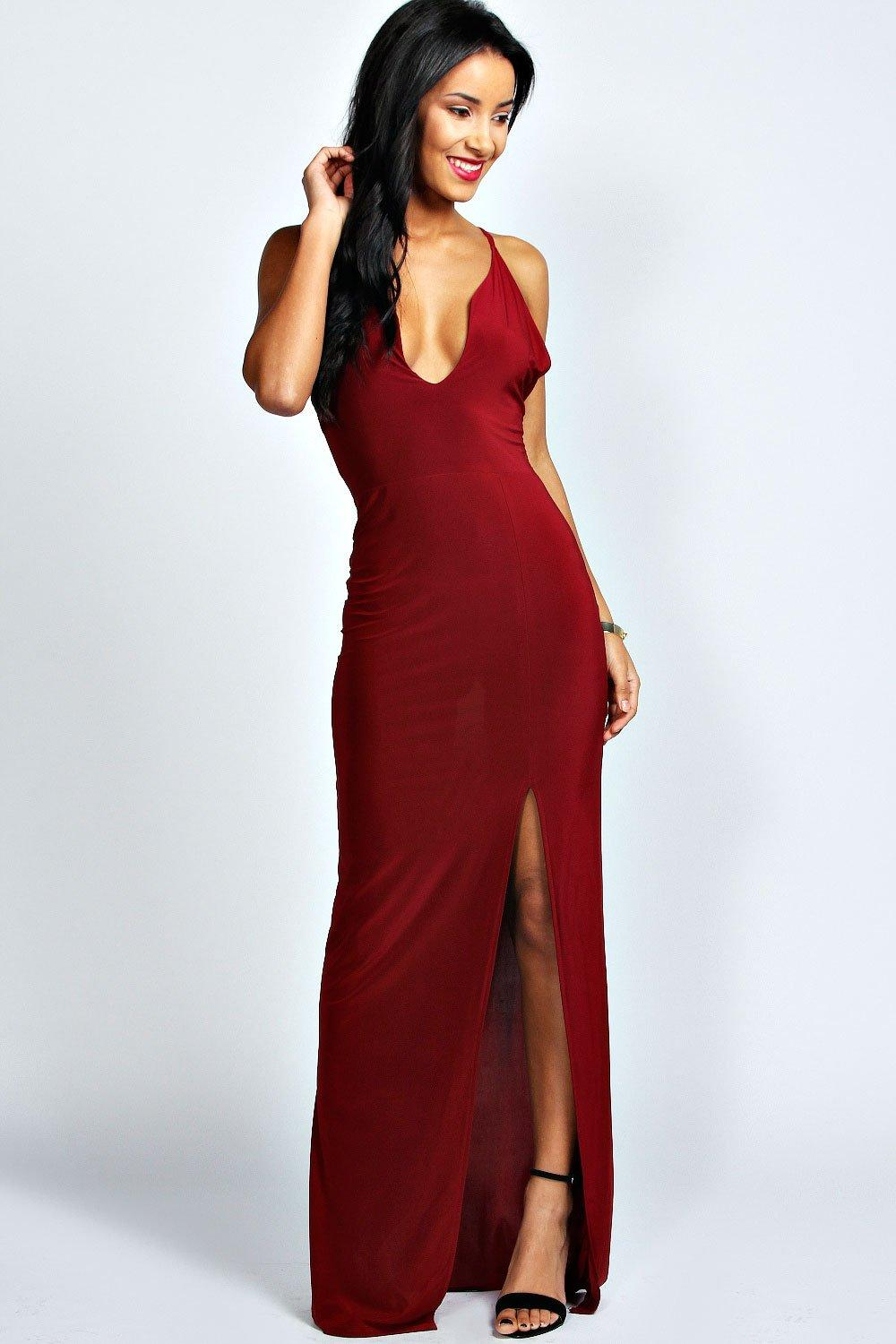 b46803c9e5ab Plunge Neck Front Split Maxi Dress. Hover to zoom