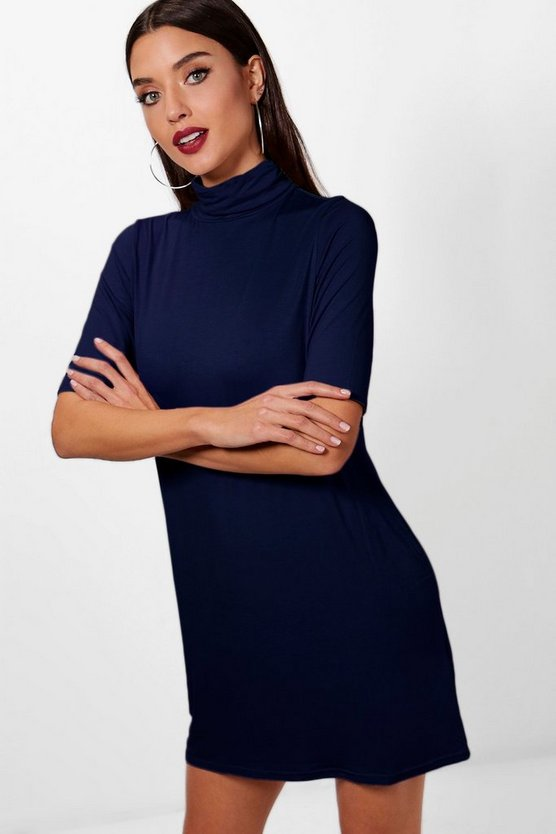 Turtle Neck T Shirt Dress