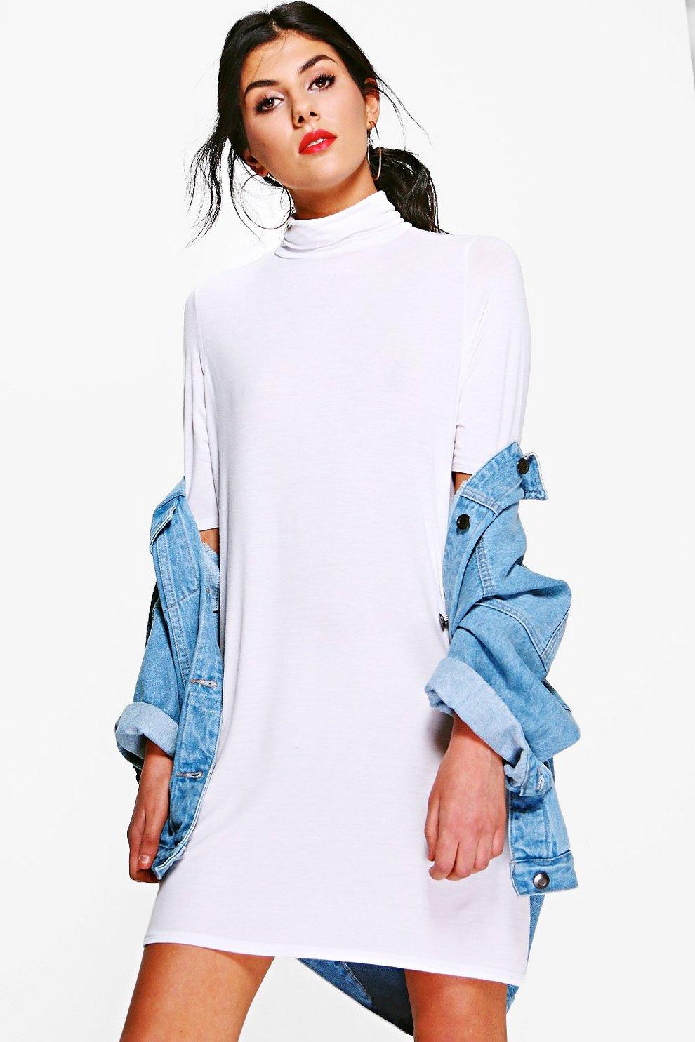 2cdc6efd2b51 Turtle Neck T Shirt Dress | Boohoo