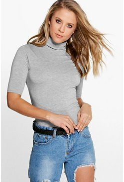 Womens Grey marl Turtle Neck Short Sleeved Top