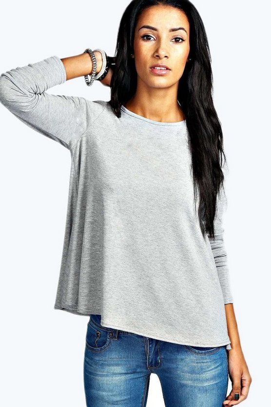 Womens Grey marl Basic Long Sleeved Top