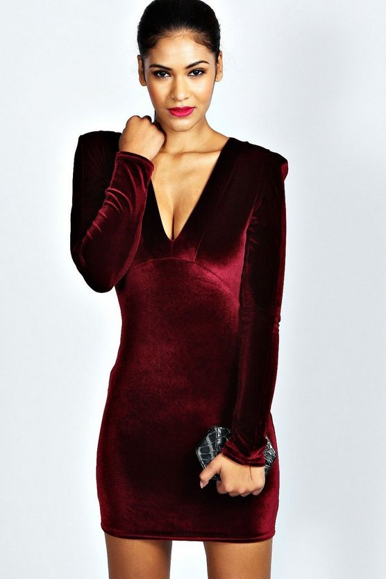Velvet Plunge Neck Bodycon Dress