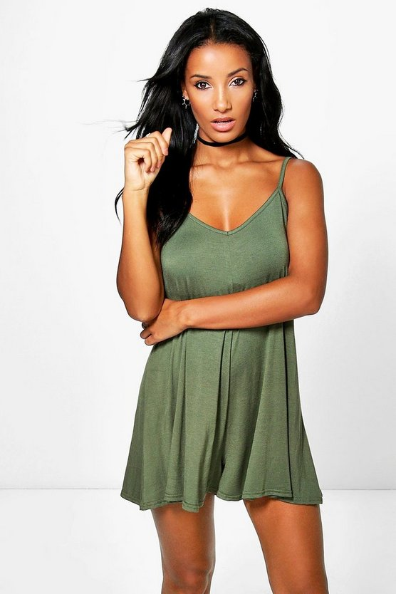 Womens Khaki Basic Strappy Swing Playsuit