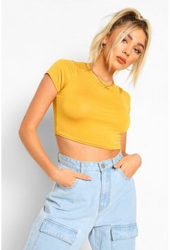 Womens Mustard Basic Short Sleeve Crop Top