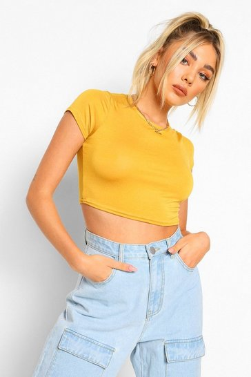 Mustard Basic Short Sleeve Crop Top