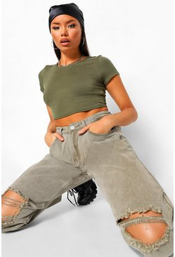 Sage Basic Short Sleeve Crop Top