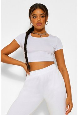 Womens White Basic Short Sleeve Crop Top