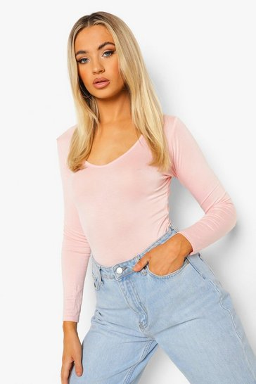 Blush Basic Long Sleeve V Neck Bodsysuit