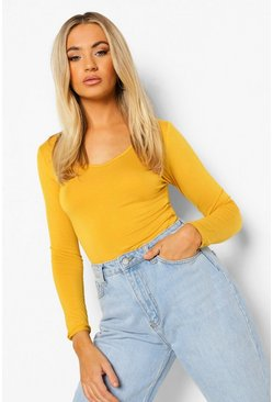 Womens Mustard Basic Long Sleeve V Neck Bodsysuit