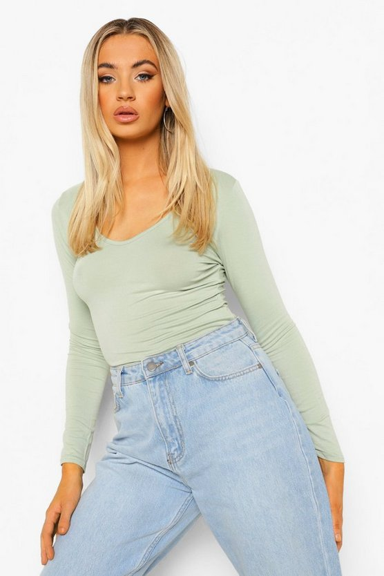 Body manches longues col v, Sage, Femme