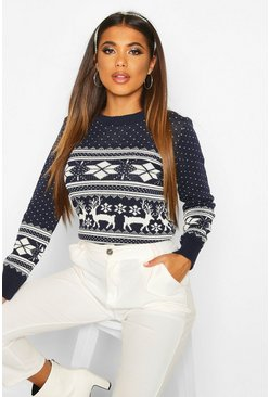 Womens Navy Reindeer Fairisle Christmas Jumper