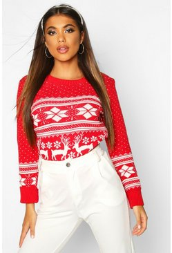 Dam Red Reindeer Fairisle Christmas Jumper
