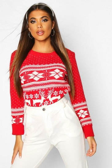 Womens Red Reindeer Fairisle Christmas Jumper