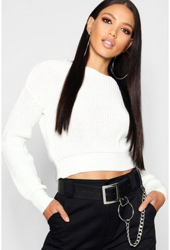 Womens Cream Crop Fisherman Jumper