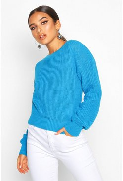 Womens Peacock Crop Fisherman Jumper