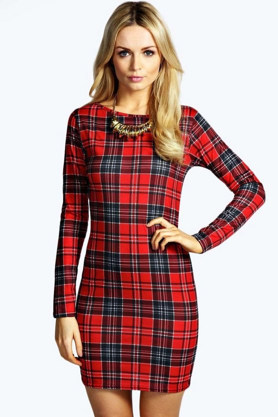 Womens Multi Amelia Tartan Long Sleeve Bodycon Dress