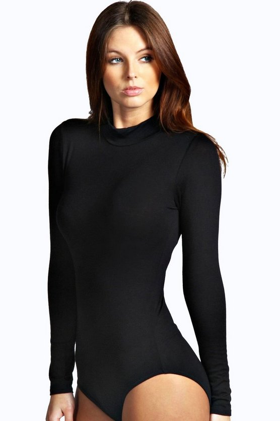Womens Black High Neck Long Sleeve Bodysuit