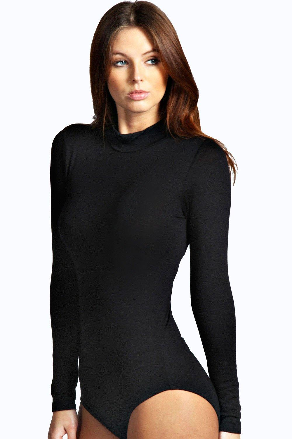 ae08419046 High Neck Long Sleeve Bodysuit. Hover to zoom