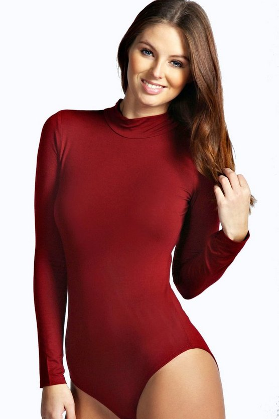 Wine High Neck Long Sleeve Bodysuit