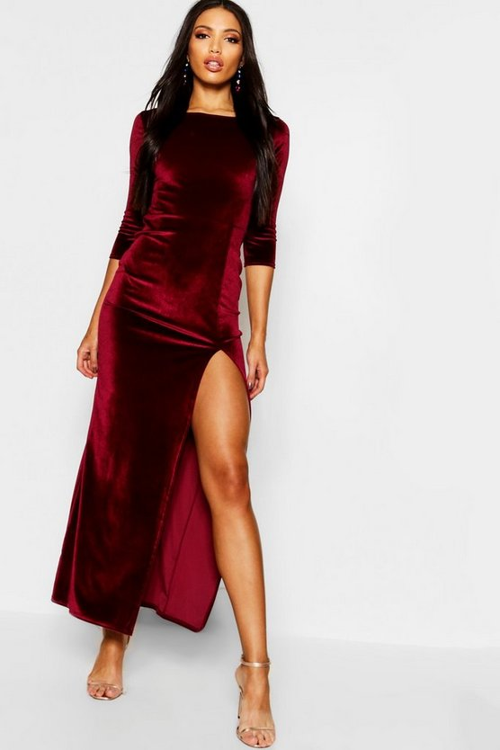 Womens Berry Velvet Long Sleeve Maxi Dress