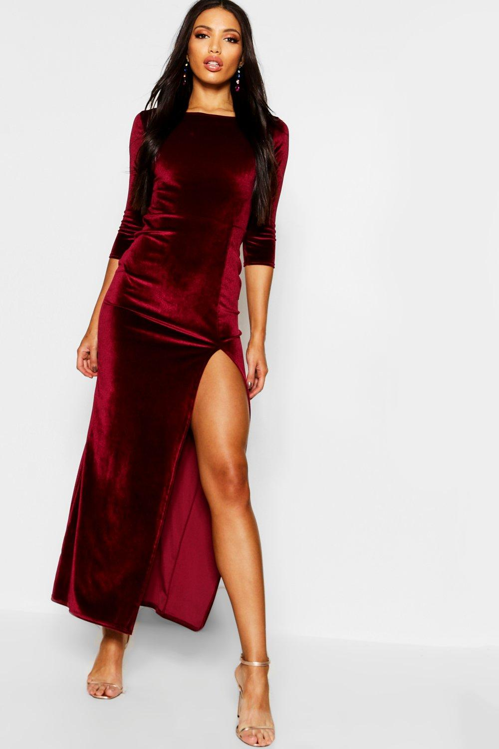 423416c44dfd Velvet Long Sleeve Maxi Dress. Hover to zoom