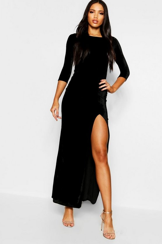 Womens Black Velvet Long Sleeve Maxi Dress