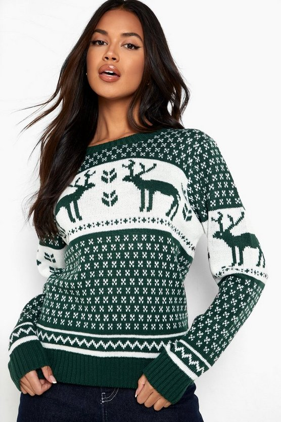 Bottle Snowflake And Reindeer Knitted Sweater