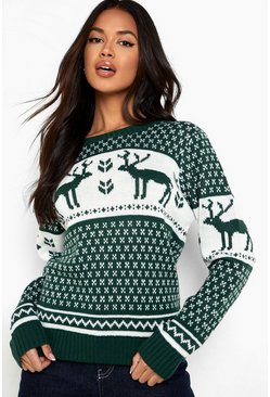 Womens Bottle Snowflake and Reindeer Knitted Jumper