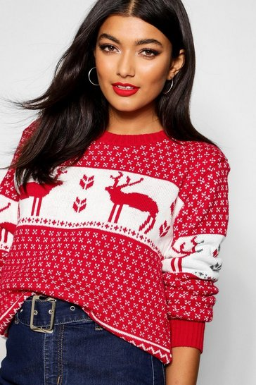Red Snowflake and Reindeer Knitted Christmas Jumper