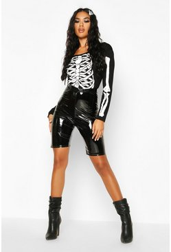 Halloween Skeleton Print Bodysuit, Black, Donna