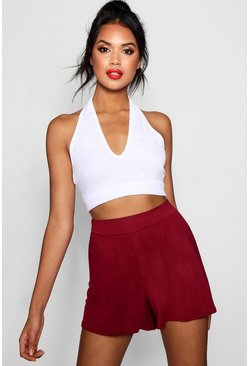 Womens Berry Basic Plain Flippy Culotte Shorts