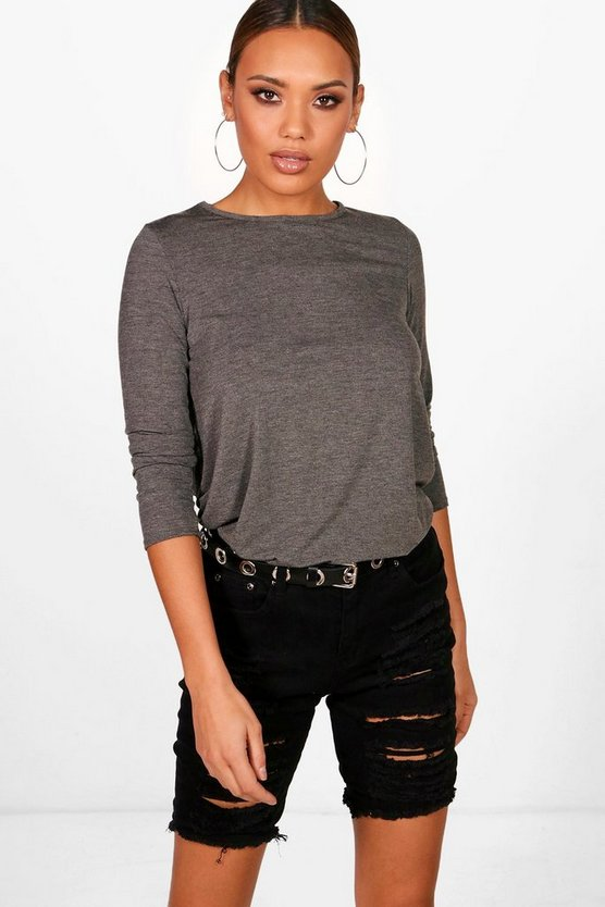 Womens Charcoal Basic Long Sleeved Top