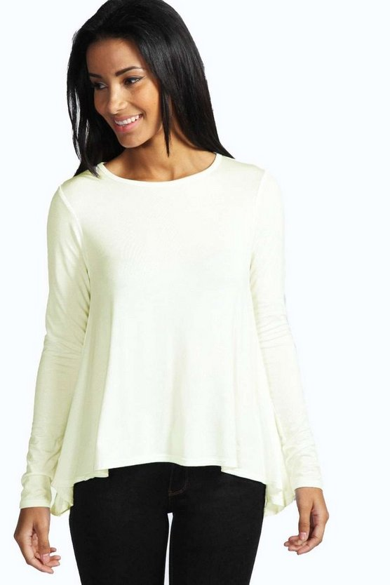 Womens Cream Basic Long Sleeved Top