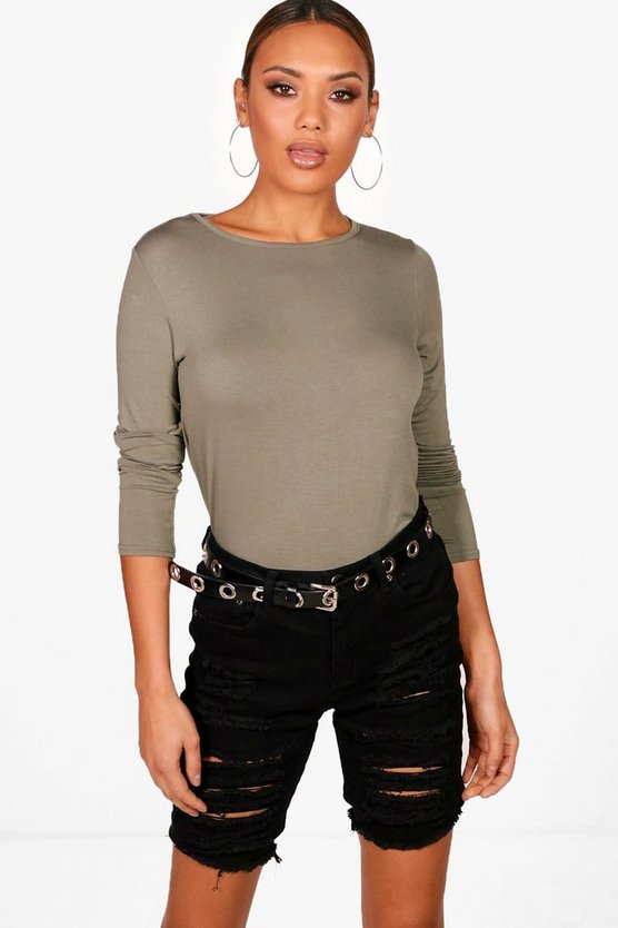 Womens Khaki Basic Long Sleeved Top