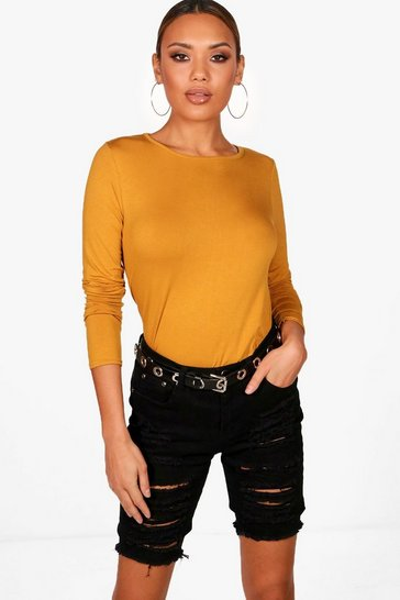 Womens Mustard Basic Long Sleeved Top