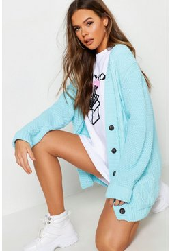 Womens Light blue Boyfriend Cardigan