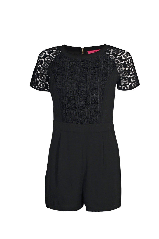 b1d2324a7153 Boohoo Julie Crochet Insert Short Sleeve Playsuit Summer Dress ...