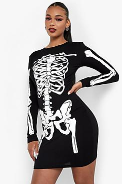 Vintage Retro Halloween Themed Clothing Maddie Halloween Skeleton Bodycon Dress $25.00 AT vintagedancer.com