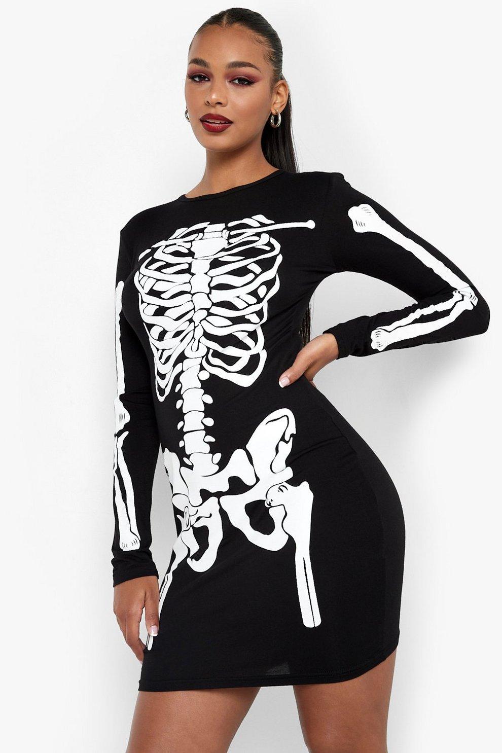4fca2ab5f5afe Halloween Skeleton Bodycon Dress   Boohoo