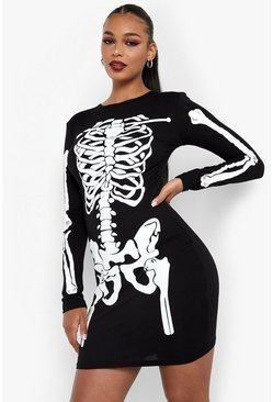 Womens Black Halloween Skeleton Bodycon Dress