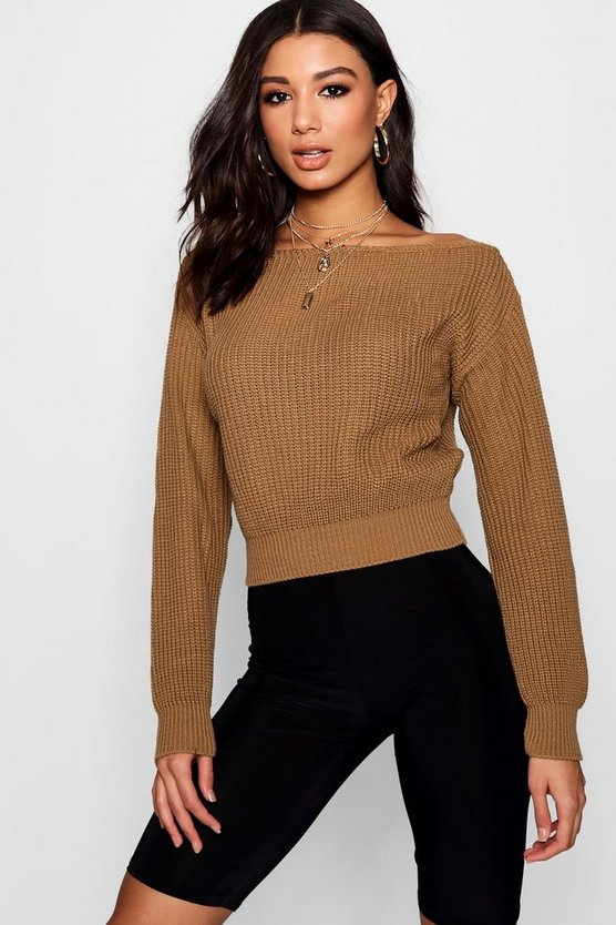Womens Camel Slash Neck Crop Fisherman Sweater