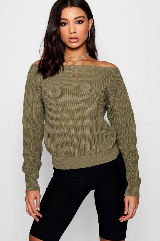 Slash Neck Crop Fisherman Jumper