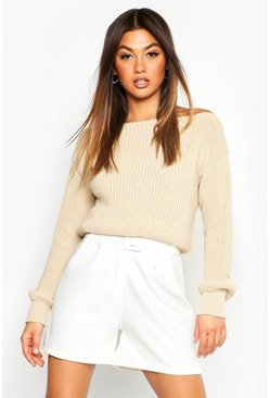 Stone Slash Neck Crop Fisherman Sweater